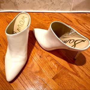 Sam Edelman White Leather Heeled Oran Mules SZ 9